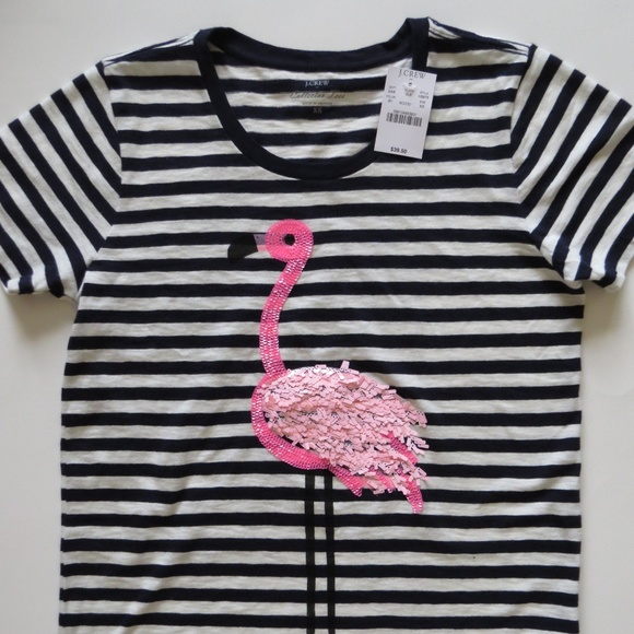 4e242035 J. Crew Tops | Jcrew Flamingo Stripe Collector Tshirt | Poshmark